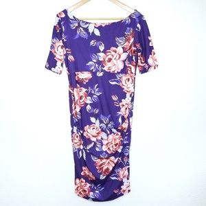 Asos 8 Purple Floral Shirred Dress Maternity